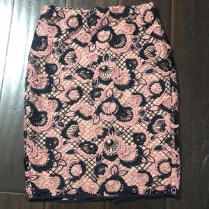 Ann Taylor Navy & Pink Floral Pencil Skirt sz 0